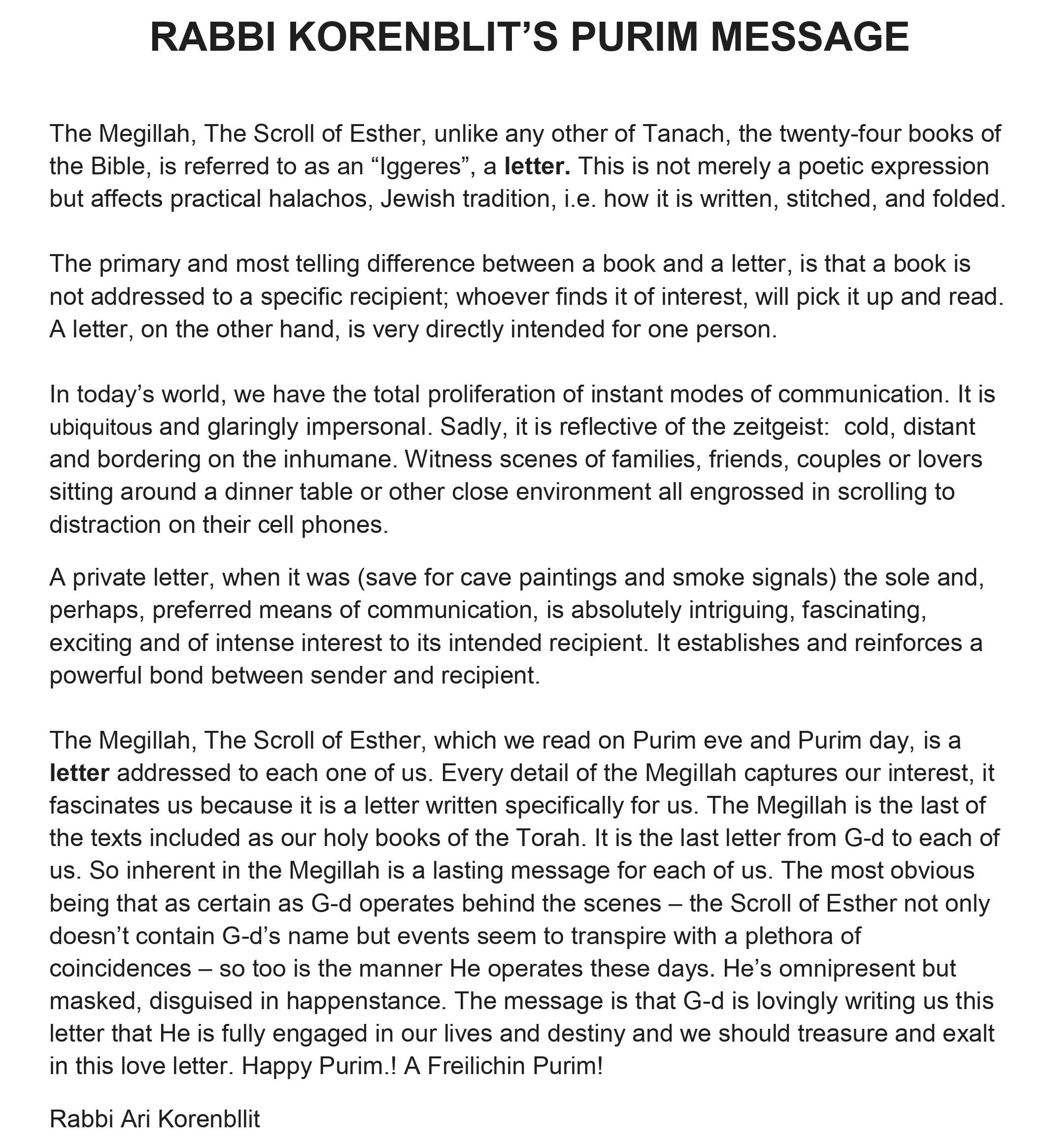 Rabbi Korenblit's Purim message 2021
